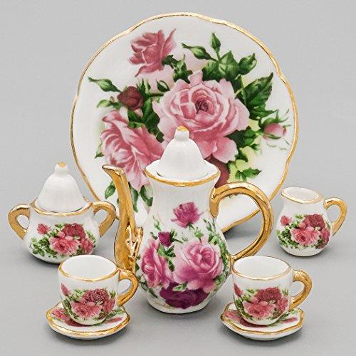 Odoria 1/6 Miniatur Geschirr 8 Stück Porzellan Tee-Set Für Puppenhaus Küche Zubehör