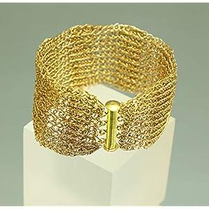 24ct vergoldetes Armband – patentgehäkelt – mit Fädelverschluss