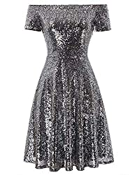 Silver Sequin Short Sleeve Off Shoulder Pleated A-Line Dress