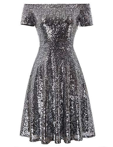 ballkleid Knielang Elegantes Kleid sexy Glitzer Kleid a Linie Partykleider CL891-8 L