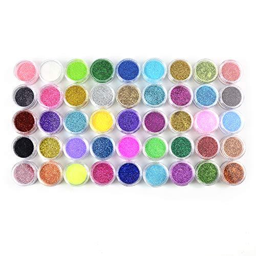 MEILINDS Polvo Acrilico para Uñas uñas arte polvo purpurina polvo Decoración para uñas 45 Cajas