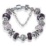 ATE Bracelet Charms Cristaux Verre Drops Fleur Femme Cadeau (Violet)