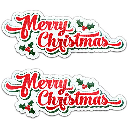 Bigtime Signs Merry Christmas Reflective Holiday Car Magnet with Printed Holly - Automotive Holiday Decoration - for Fridge or Car - 2 Pack - 4.25 inch x 11 inch