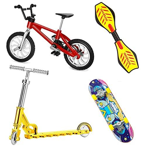 QNFY Mini Vélos, 4 Pièces Planches À roulettes de Doigt Kit Finger Skateboard Bicyclette de Doigt Scooter de Doigt Planche de Balançoire des Doigts Mouvement Jouets Jeux pour Enfants Cadeau