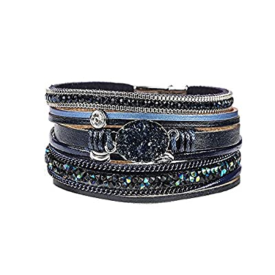 Multi-Layered Leather Wrap Bracelet - Stackable Handmade Boho Wrap Charm Bracelet Cuff Bangle Chunky Wrap Around Bracelet Inlaid Rhinestone with Magnetic Buckle Fashion Gift for Women, Girls
