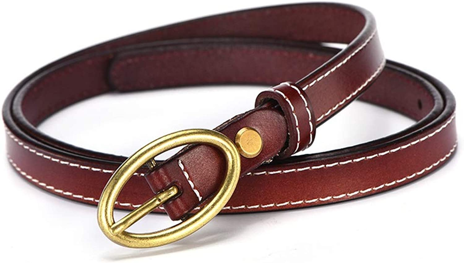 Women's Cowhide Leather Jeans Belts with Single Prong Buckle (color   Red Brown)