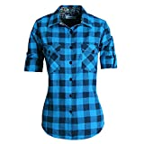 MGWDT Women's Flannel Shirt Roll Up Long Sleeve Button Down Western Plaid Shirts Blue Small