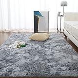 Teppich Wohnzimmer Shaggy Teppich Hochflor Teppich Grau Langflor Teppich Kinderzimmer Modern Bunte Batik Teppich Jugendzimmer Flauschiger Teppich Groß von CHOSHOME, Grau 120 X 180 cm