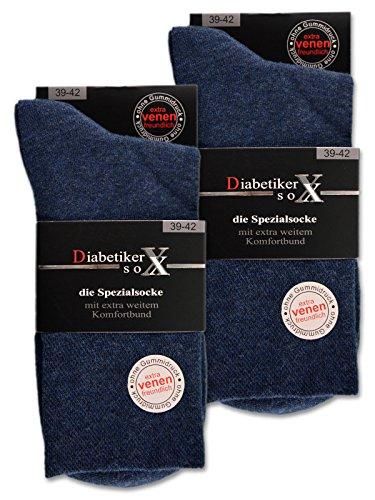 6 Paar Socken mit Komfortbund ohne Gummi & ohne Naht 97% Baumwolle Damen & Herren Diabetiker Socken (43-46, Jeans)