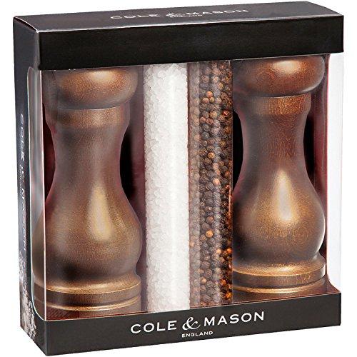 Cole & Mason CH300128P Coffret MOULINS SEL ET Poivre Capstan Precision 165 MM avec Recharge, Bois, Wengé
