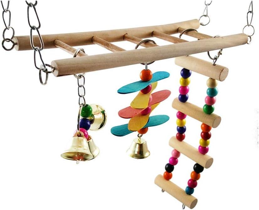 SCDCWW Popular standard Wooden Bird Parrot Rare Swing Hanging Toys Chewing Ladder
