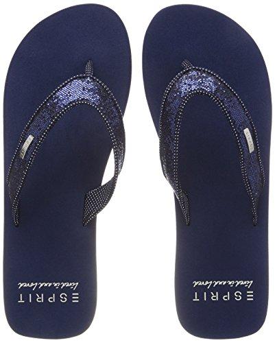 ESPRIT Damen Glitter Thongs Pantoletten, Blau (Navy), 39 EU