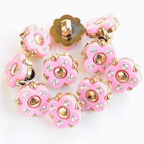 手作り工房 MY mama お花 プラスチック ボタン 12mm 10個 足つき ピンク ラインストーン ゴールド 入園 入学