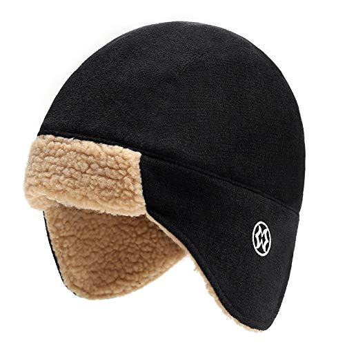 Men's Women's Winter Trapper Hat with Earflaps Warm Bomber Aviator Cap Trooper Russia Hat Outdoor Windproof Black