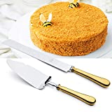 OTW PAVILION 2 Piece Wedding Cake Knife and Server Set, Gold 18/10 Stainless Steel Dessert Set Pie Server Cake Cutter Wedding Knife for Birthday,Anniversary,Holiday,Baby Shower,Party