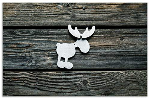 Wallario Herdabdeckplatte/Spritzschutz aus Glas, 2-teilig, 80x52cm, für Ceran- und Induktionsherde, Motiv Elch Symbol in weiß, vor dunklem Holz