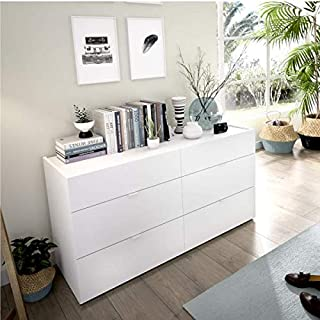 HABITMOBEL Comoda Sifonier 6 cajones Blanco Ancho: 120 cm x Alto: 62 cm x Fondo: 39 cm guías metálicas Suave Deslizamiento
