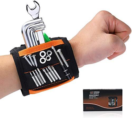 Magnetisches Armband Handwerker - HPHST Geschenke für Männer Frauen Geburtstag Magnetarmband Handwerker mit 15 Leistungsstarken Magneten für Schrauben Bolzen Nägel kleine Metallteile Gadgets