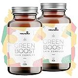 GREEN BOOST SKIN COMPLEX con Aceite C B D Oil, Resveratrol, Vitamina e y Acido hialuronico | 2 exclusivos Productos para el cuidado de la cara y el Acne | Un must de belleza mujer y cuidado facial