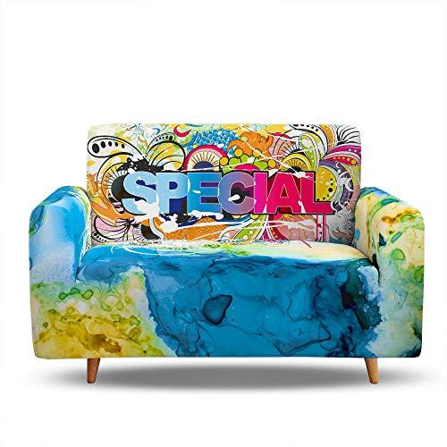 Tanboank Copridivano 2 Posti Elasticizzato Graffiti A Colori Copridivani Chaise Longue Relax Antimacchia Gatto AntiGraffio Copridivano Angolare Universale per divani con penisola 145-185 cm