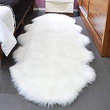 SXYHKJ Piel de Cordero Oveja/Alfombra de imitación de Piel de Cordero,imitación mullida Alfombras imitación Piel sintética,para salón Dormitorio baño sofá Silla cojín (Blanco, 60X160CM)