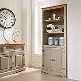 Home Source Corona Grey Pine Bookcase 2 Door Display Cupboard 3 Book Shelves Distressed Wax