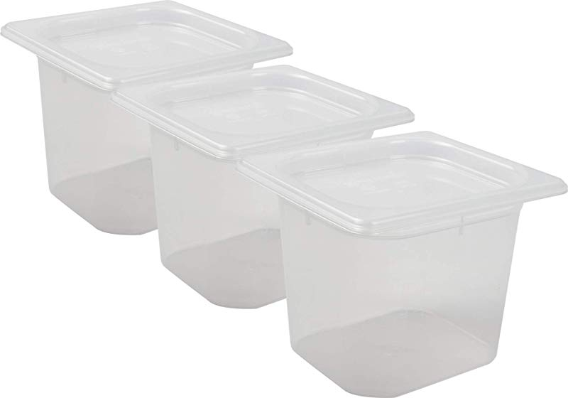 San Jamar MP16RD Mod Pans 1 6 Food Pan With Lid Retail Pack 2 Quart Pack Of 3