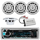 Kenwood KMR-M312BT Marine Digital Media Receiver and TWO sets of KFC1633MRW 6-1/2' 2-way Marine Speakers with a KACM1804 Amplifier and SOTS Air Freshner