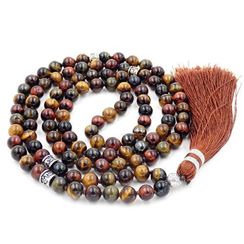 Fukugems 108 Mala Budista Collar Mujer Hombres, Mala Brazalete, meditación Budista Collar, Mix-Color Tiger Eyes Stone Yoga Mala
