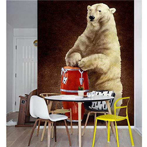 3D Room Wallpaper Mural Non-Woven,Picture Cartoon Polar Bear Beat Drum Sofa TV Background Wall,Painting Photo Wallpaper 208 cm (W) x 146 cm (H)