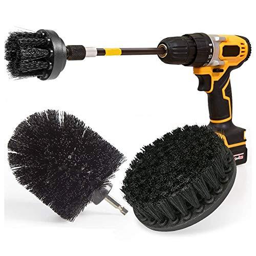 Gesh Cepillo de limpieza con cepillo de taladro eléctrico extendido, juego de accesorios largos, multiusos, color negro