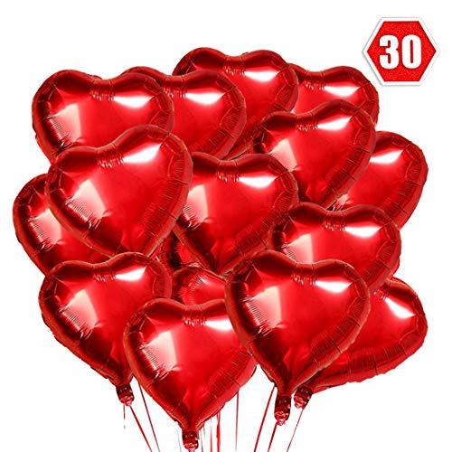 O-Kinee Herz Folienballon 30 pcs Herzballons Hochzeit Herz Rot Heliumballons Herzluftballons für Party,Geburtstag,Valentinstag, Hochzeit, Verlobung,Muttertag Dekoration(Rot)