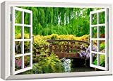 wall26 3D Visual Effect View Through Window Frame Canvas Wall Art - Japanese Style Bridge in a Beautiful Garden - Giclee Print Gallery Wrap Modern Home Art Ready to Hang - 32x48 inches