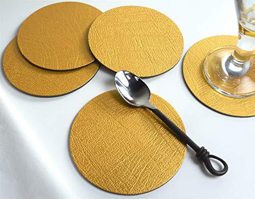 Untersetzer aus Leder von Giftag, goldfarben verziert, rund, hergestellt in Großbritannien, 6 Stück