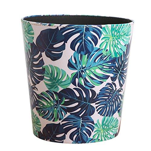 Rolanli 10L Papierkörb Ledereimer Runde wasserdichte Mülleimer für Küche Schlafzimmer Wohnzimmer - Grüne Blätter 2 Muster