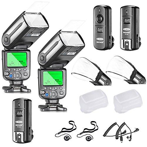 Neewer - Set de flash i-TTL para cámara de fotos Nikon D7100 D7000 D5300 D5200 D5100 D5000 D3200 D3100 D3300 D90 D800 D700 D300 D610 D300S, D3S D3X (incluye cámara D3 D4 D600 D200 DSLR, incluye 2 flash Neewer Auto-Fokus + receptor inalámbrico de 2,4 Ghz) ) + cable N1 y cable N3 + 2 difusores de flash duros y suaves + 2 soportes para tapa de objetivo.