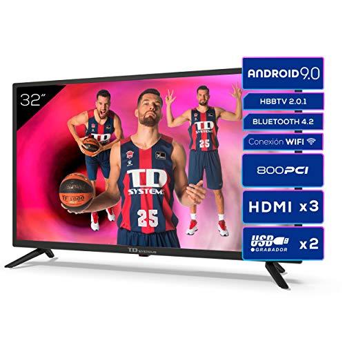 TD Systems K32DLG12HS - Televisores Smart TV 32 Pulgadas HD Android 9.0 y HBBTV, 800 PCI Hz, 3X HDMI, 2X USB. DVB-T2/C/S2, Modo Hotel. Televisiones