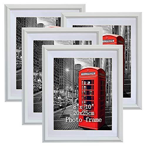 PETAFLOP Bilderrahmen weiß 4er Set mit Passepartout für Bild 20x25
