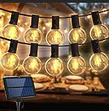Guirnalda Luces Exterior Solar,Balippe 5.5M Cadena de Luz 15+2 Bombilla de Repuesto,IP55 Impermeable 4 modos Guirnaldas Luminosas Exterior y Interior para jardín,boda,casa, fiesta,navidad