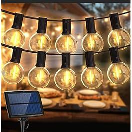 Guirlande Lumineuse Exterieur Solaire, BALIPPE Guirlande Guinguette Solaire avec 28 Ampoules et 2 de Rechange, 4 Modes d…