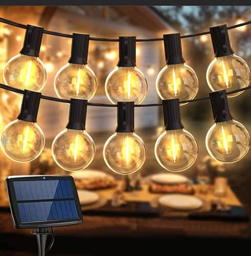 Guirnalda Luces Exterior Solar,Balippe 5.5M Cadena Luces 15+2 Bombilla de Repuesto,IP55 Impermeable 4 modos Guirnaldas...