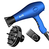 Professional Ionic Hair Dryer for Hair, Blow Dryer with Diffuser & Comb & Concentrator, Lightweight 1875W Hairdryer Drying Fast, 3 Heat 2 Speed with Cool Shot Button Blue