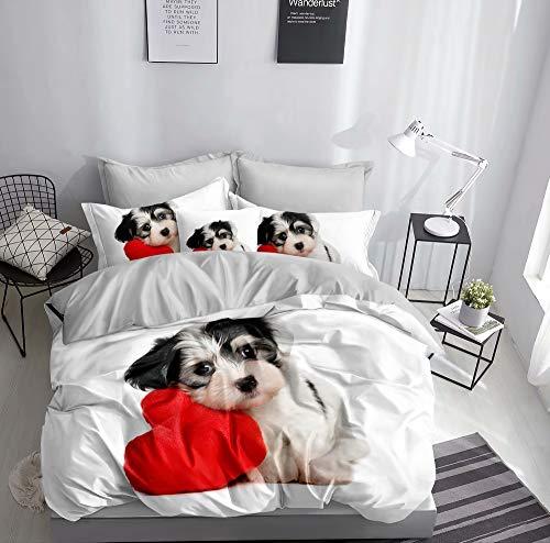 Ropa de cama 3D perro con corazón funda nórdica 135 x 200 + 80 x 80 cm Perros Doble Cara Rojo, Blanco Gris Con Cierre