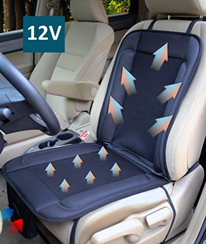 ObboMed SA-4280 12V Cooling Ventilated Breathable Air Flow Car Seat Fan Cushion, with Special Secured Fitting (Vertical/Horizontal) for Car, Automobile, Vehicle, Long Drive Solution