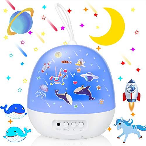 EXTSUD Sternenhimmel Projektor Sternprojektor 360°Drehbare Sternenhimmel Kinder Lampe mit 8 Licht Modus&4 Thema Szene Projektor Lampe Nachtlicht für Kinderzimmer Geburtstag Party Weihnachten Hochzeit