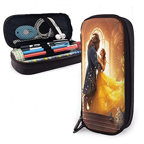 Beauty and The Beast Estuche grande de gran capacidad para lápices, bolsa de almacenamiento, suministros para estudiantes, gran capacidad, bolsa de almacenamiento para oficina, regalo para niña