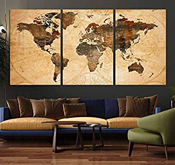 Sephia World Map Wall Art Old World Map Canvas World Map Print World Map Poster World Map Art World Map Push Pin Extra Large Abstract World Map Print