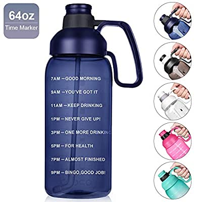 Opard Half gallon Water Bottle with Time Marker, 64oz Motivational Water Jug Large Sports Water Bottle with Straw Handle BPA Free for Gym Fitness (Blue)