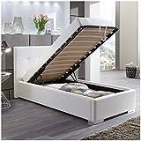 Moebella Polsterbett Bett mit Bettkasten 90x200 Weiß Betty Lattenrost Einzelbett