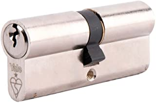 Yale KM3030-NP Euro Double 1 Star Kitemarked Cylinder, 3 Keys Supplied, High Security, Boxed, Suitable for All Door Types, Nickel Finish, 30:10:30 (70 mm)